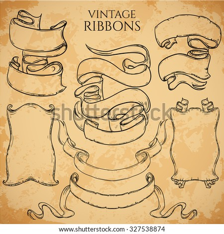 Vintage ribbons set. Vector illustration. Engraved decorative ornate frames. Victorian style. Place for text message.Retro hand drawn design elements collection on aged card paper. - stock vector