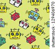 vintage robot background - stock vector