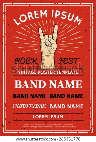 Vintage Rock festival poster, flyer with Rock and Roll hand sign - stock vector