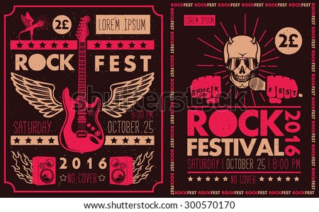 Vintage rock festival posters - stock vector