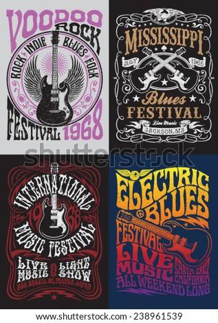 Vintage Rock Poster T Shirt Design Set
