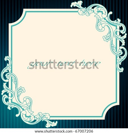 Vintage rococo frame in blue (EPS10); jpg version also available - stock vector