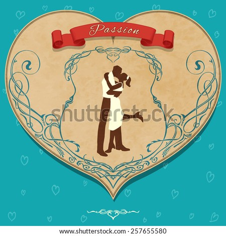 "Vintage romantic card ""Passion"" with lovers silhouette (texture are removable) - stock vector"