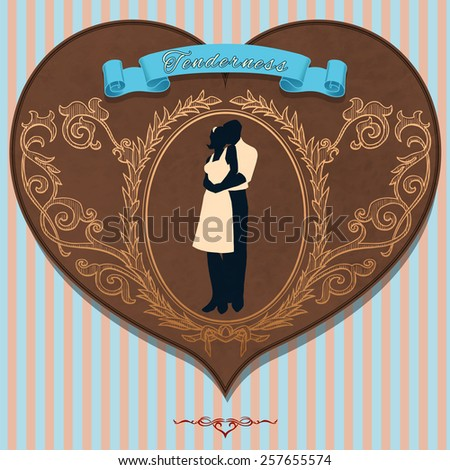 """Vintage romantic card """"Tenderness"""" with lovers silhouette (texture are removable) - stock vector"""