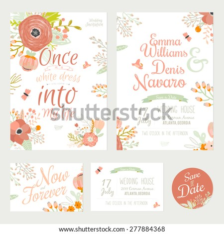 Vintage romantic floral Save the Date invitations in bright colors in vector. Set of wedding calligraphy card template with greeting labels, ribbons, hearts, flowers, wreaths, laurel. - stock vector
