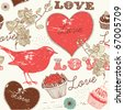 Vintage romantic seamless pattern with bird - stock photo
