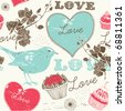 Vintage romantic seamless pattern with bird - stock vector