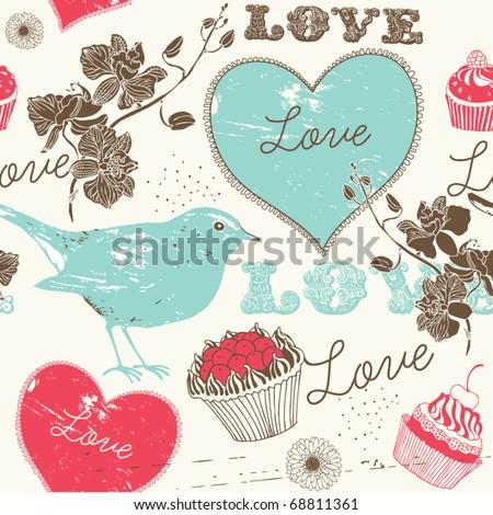 Vintage romantic seamless pattern with bird - stock vector