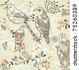 Vintage romantic seamless pattern with bird and flowers - stock vector