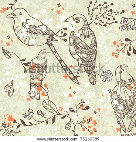 Vintage romantic seamless pattern with bird and flowers