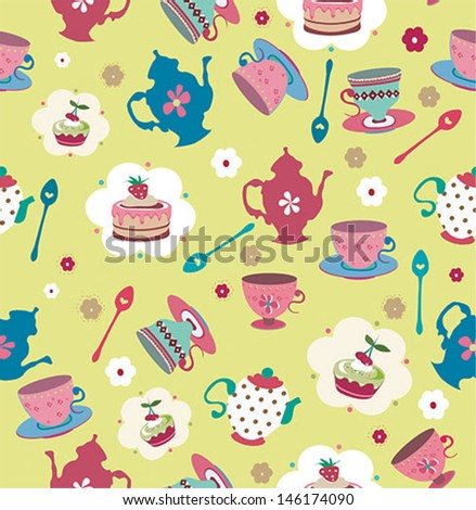 Vintage romantic seamless pattern with cupcake and kettle - stock vector