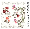 Vintage rose decoration set.eps 10 - stock vector