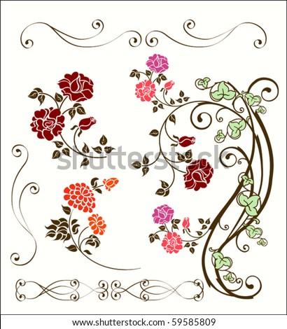 Vintage rose decoration set.eps 10 - stock vector