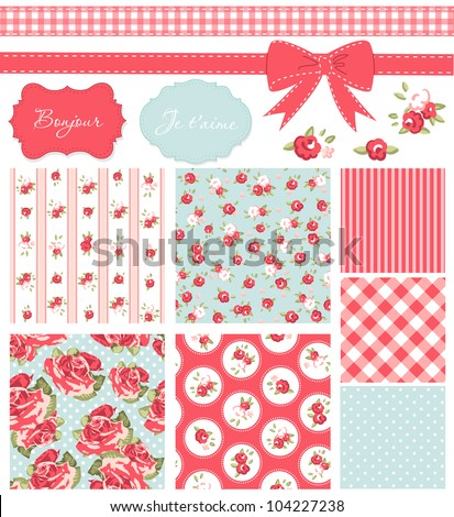 Vintage Rose Pattern, frames and cute seamless backgrounds. Ideal for printing onto fabric and paper or scrap booking. - stock vector
