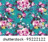 vintage rose pattern on green background - stock vector