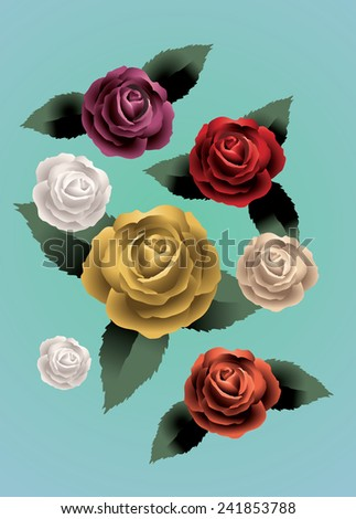 vintage roses flower vector eps10 drawing illustrate - stock vector
