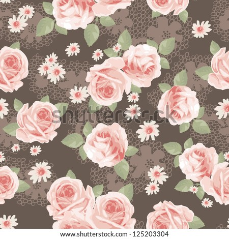 vintage roses over lace seamless background - stock vector