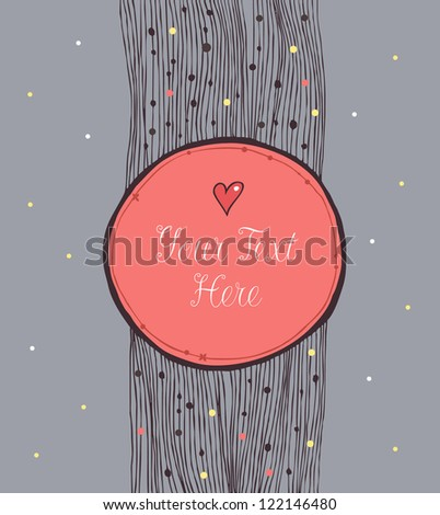 Vintage round banner. Winter template for design crafts, gifts, valentine cards, invitations. Vector decorative frame - stock vector