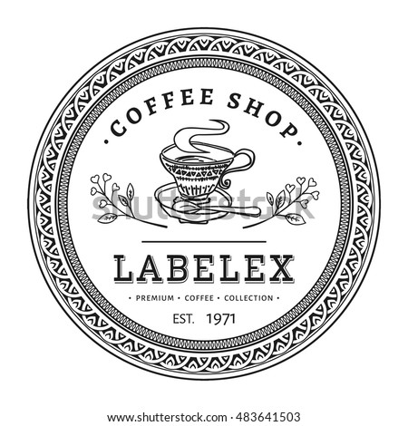Vintage Round Coffee Shop Label With Victorian Frame Hand Drawn Retro Circle Logo Isolated On