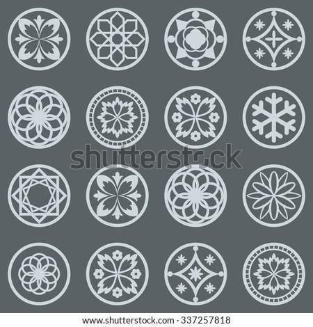 Vintage round design elements vector set. - stock vector