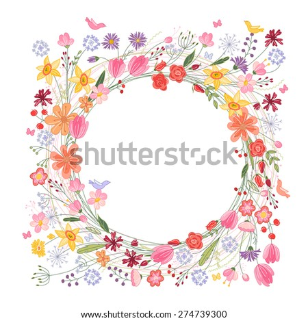 Vintage round frame with contour field flowers isolated on white - stock vector