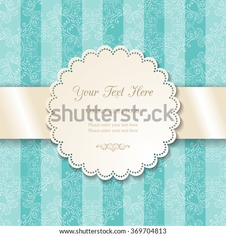 Vintage round lacy ornamental frame on blue background of stripes and floral pattern. Cutout doily with lacy borders and 3d white satin ribbon. Vector illustration EPS10