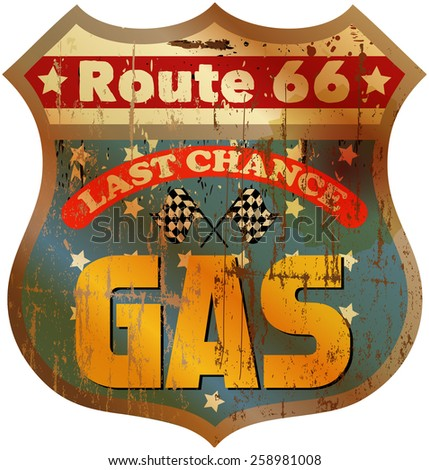 Vintage route 66 gas station sign, vector illustration - stock vector