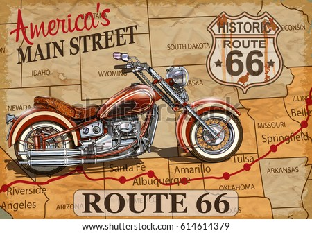 Vintage Route 66 Motorcycle Poster Stock Vector 614614379