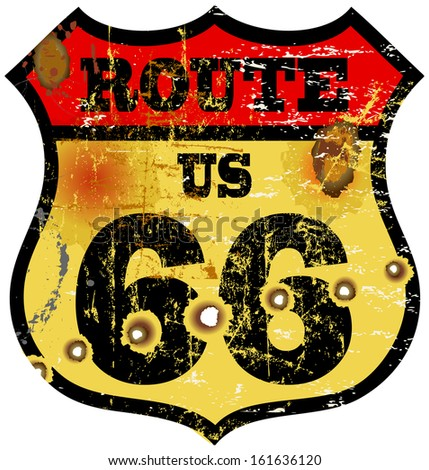 vintage route 66 road sign, bullet holes, vector illustration - stock vector