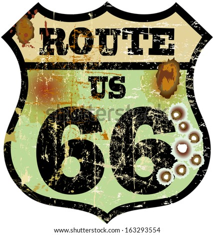 vintage route 66 road sign, retro style, vector illustration - stock vector