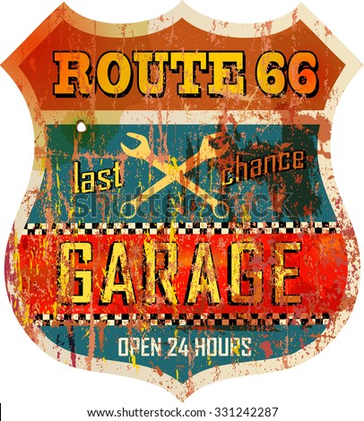 Vintage route sixty six garage sign, vector illustration, fictional artwork