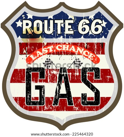 Vintage route sixty six gas station sign, vector illustration - stock vector