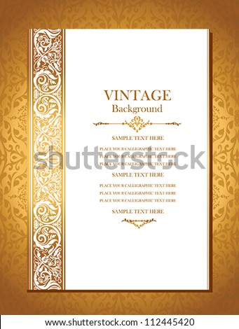 Vintage royal background, antique, victorian gold ornament, baroque frame, beautiful wedding card, ornate cover page, old label, floral luxury ornamental pattern template for design