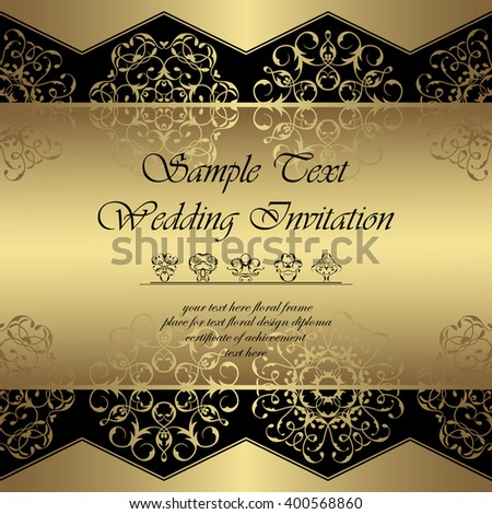 Vintage royal background.  Lace luxury ornaments in a gold. Can be used as wedding invitation or card