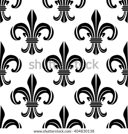 Vintage royal fleur-de-lis black and white seamless pattern of victorian floral composition, adorned by swirls and flourishes. Interior, textile or wallpaper design - stock vector