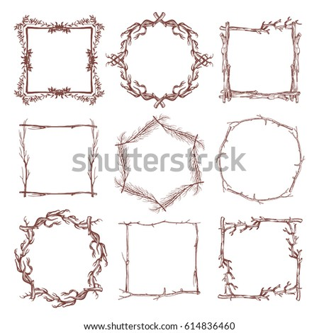Vintage Rustic Branch Frame Borders Hand Drawn Vector Set