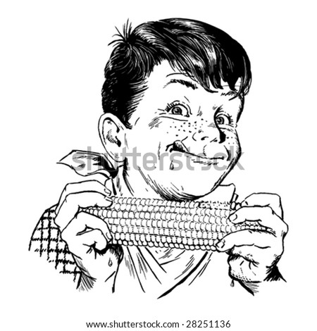 Vintage 1950s Boy Eating Corn; detailed black and white from authentic hand-drawn scratchboard.