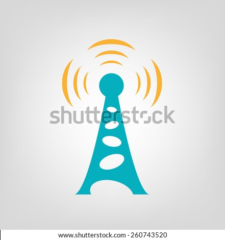 Vintage 60s style Antenna Tower with Radiowave Signal. Editable Vector Illustration and large jpg - stock vector