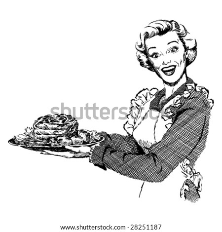 Vintage 1950s Woman serving roast for dinner.  Detailed black and white from authentic hand-drawn scratchboard.