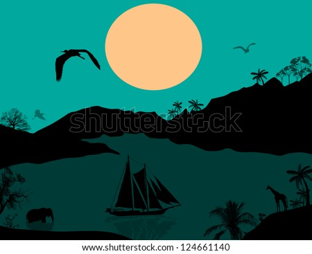 Vintage sailboat at sunset and wild animals, vector illustration - stock vector