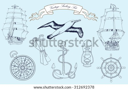 Vintage sailing set with old ships, compass, anchor, wheel, gull and lamp on blue, hand drawn illustration