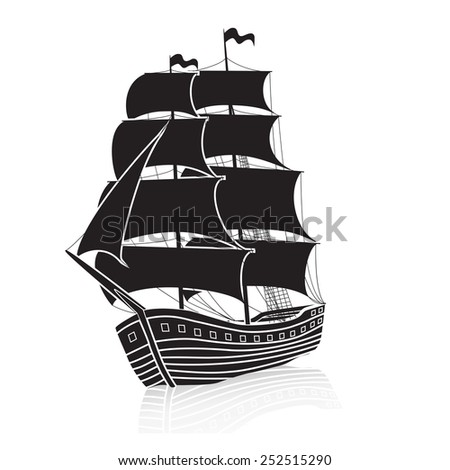 vintage sailing ship at sea on a white background - stock vector