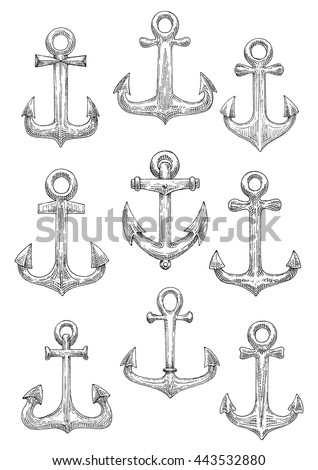 Vintage sailing ships anchors engraving stylized sketch symbols for nautical theme or yacht club and marine adventure design with admiralty pattern anchors