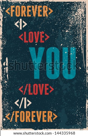 Vintage Saint Valentine's typography vector illustration EPS10. Can be used as a poster or postcard. - stock vector