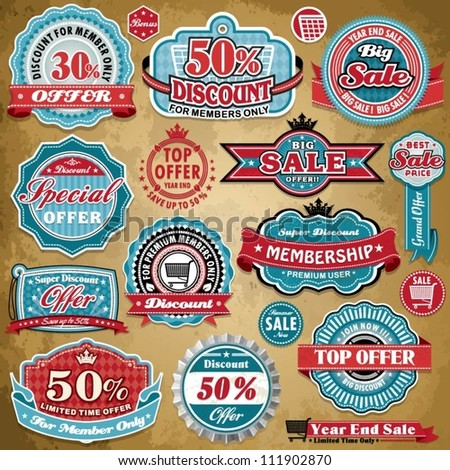 Vintage Sale frame label set template - stock vector