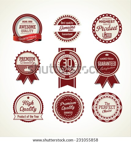 Vintage sale labels collection design elements, Premium quality - stock vector