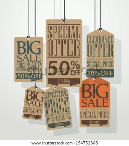 Vintage sale tags design  - stock vector