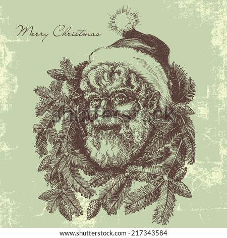 Vintage Santa Claus sketch portrait, Christmas card in old fashioned style - stock vector
