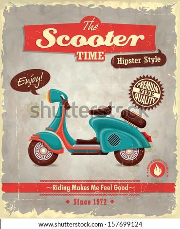 Vintage scooter poster design  - stock vector