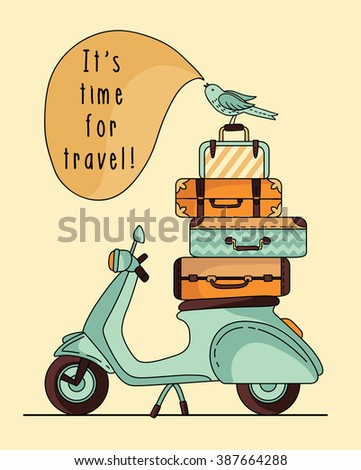Vintage scooter poster design. Scooter with baggage - stock vector